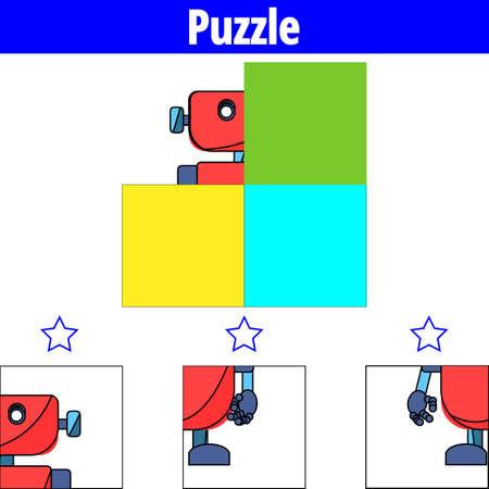 Gioco di puzzle Gioco educativo visivo per bambini. Foglio di lavoro per bambini in età prescolare. Illustrazione vettoriale. Robot.