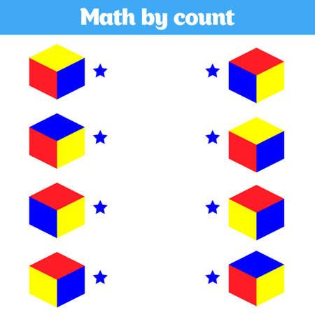 Juego educativo visual para niños. Hoja de trabajo para niños en edad preescolar. Ilustración de vector.