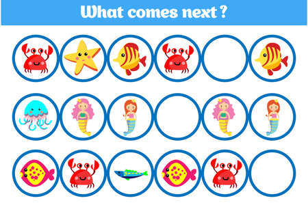What comes next educational children game. Kids activity sheet, training logic. Vector illustration. Ilustrace