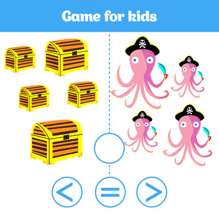 Education logic game for preschool kids. Choose the correct answer. More, less or equal Vector illustration. Stock fotó