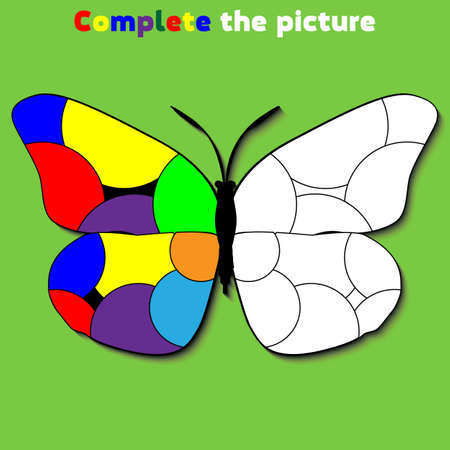 Complete the picture.  Education logic game for preschool kids. Vector Illustration. Banque d'images