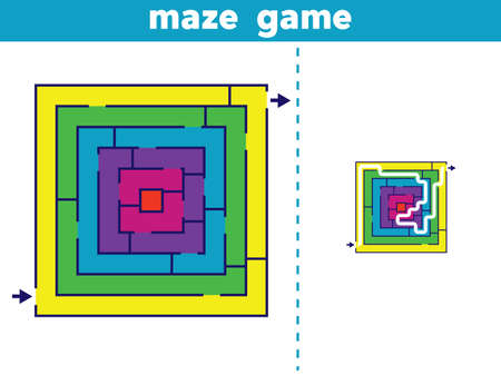 Labyrinth. Maze game for kids. Vector illustration.