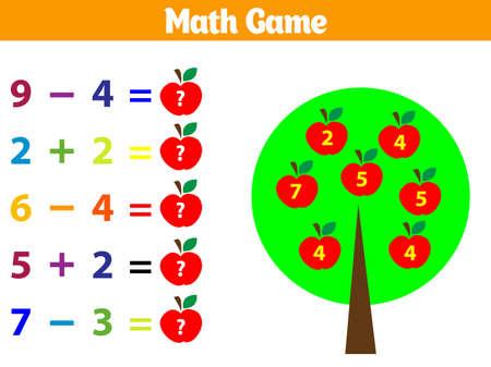 Matematyka gra edukacyjna dla dzieci. Ilustracja wektorowa.