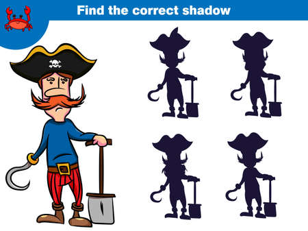 Find the correct shadow, education game for children. Set of cartoon pirate characters.