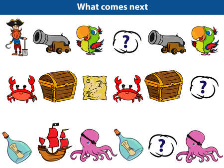 What comes next Educational game for children. Set of cartoon pirate characters. Vector illustration.