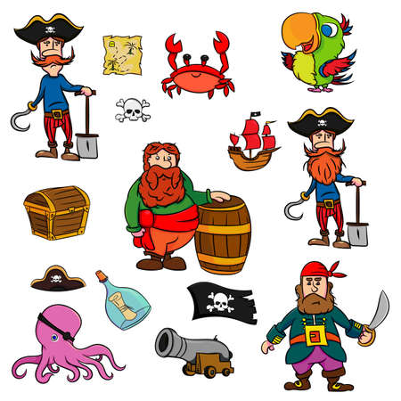 Collection of cartoon pirate. Pirate's adventure set on white background. Vector illustration.