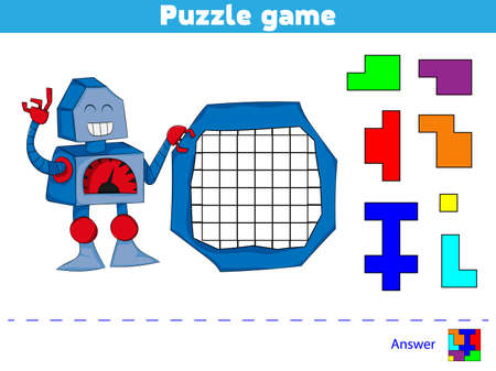Puzzle game.  Complete the Pattern. Education logic game for preschool kids. Banco de Imagens - 122467818