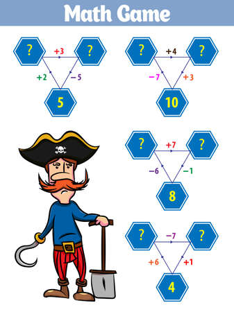 Mathematics educational game for children. Set of cartoon pirate characters. Vector illustration.