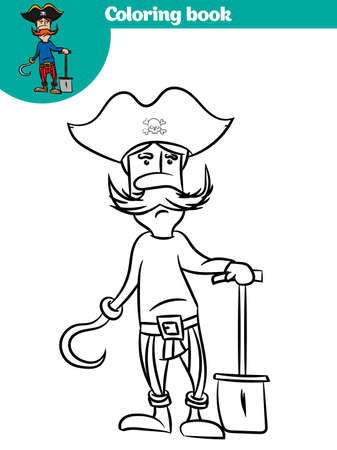 Coloring book with pirate theme. Black and White Cartoon Vector Illustration of Funny Pirate. 向量圖像
