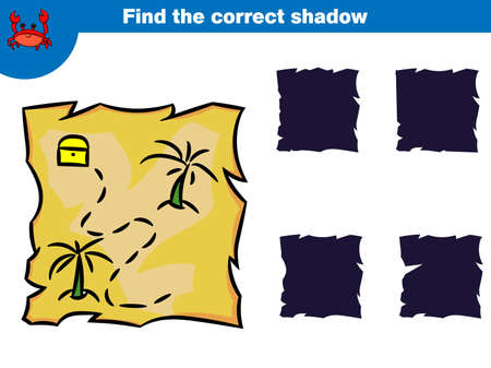 Find the correct shadow, education game for children. Set of cartoon pirate characters. Vector illustration.