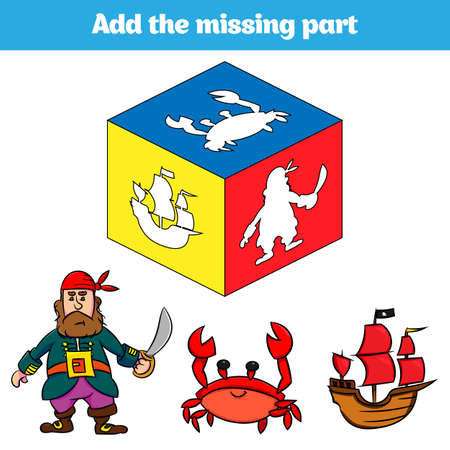 Puzzle game. Visual Educational Game for children. Task: find the missing parts. Worksheet for preschool kids.