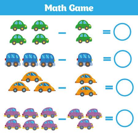 Mathematik-Lernspiel für Kinder. Subtraktionsarbeitsblatt für Kinder lernen, Aktivität zählen. Vektorgrafik