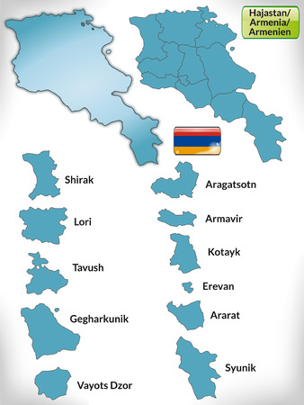 map of armenia: Map of Armenia with borders in blue Illustration