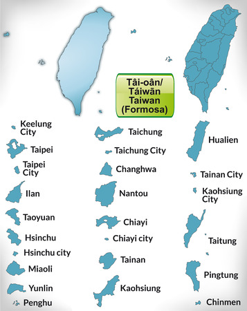 site map: Map of Taiwan with borders in blue