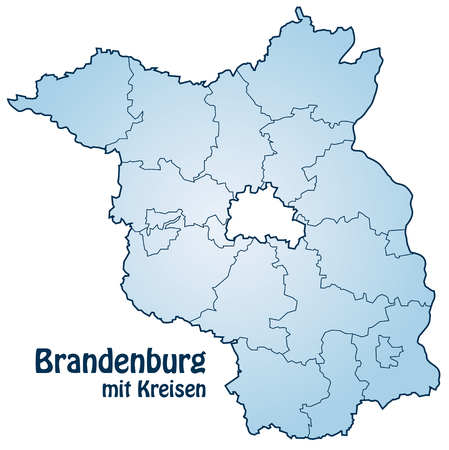 Map of Brandenburg with borders in blue Vector