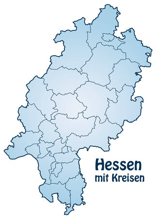 hesse: Map of Hesse with borders in blue