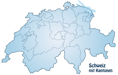 Map of Switzerland with borders in blue