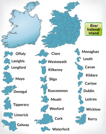dun: Map of Ireland with borders in blue Illustration