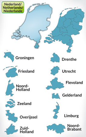 haarlem: Map of Netherlands with borders in blue