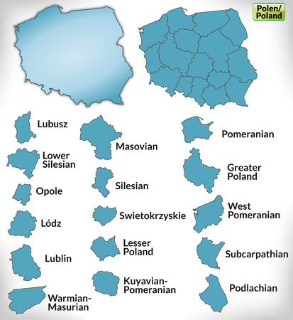 Map of Poland with borders in blue Ilustracja