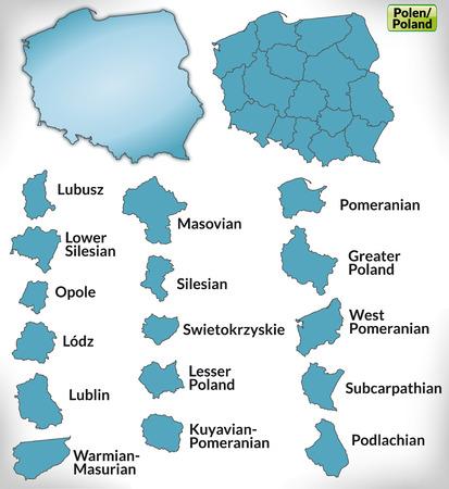 Mapa Polski z granicami na niebiesko Ilustracje wektorowe