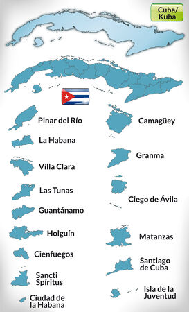 guantanamo: Map of Cuba with borders in blue Illustration