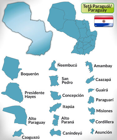 Map of Paraguay with borders in blue Ilustração