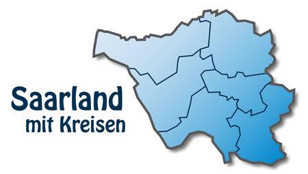 saarlouis: Mapa de Saarland con bordes en azul Vectores