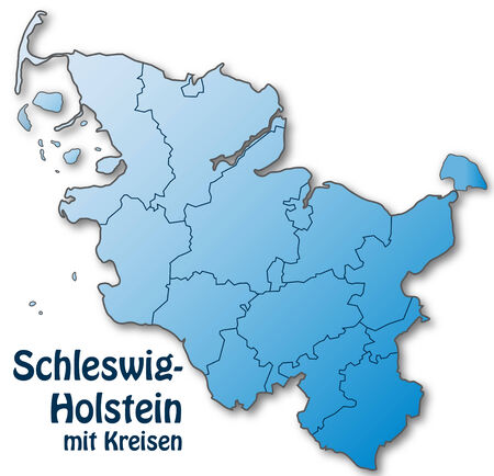 schleswig holstein: Map of Schleswig-Holstein with borders in blue Illustration