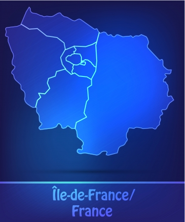 Map of Ile-de-France with borders as scrible Vector