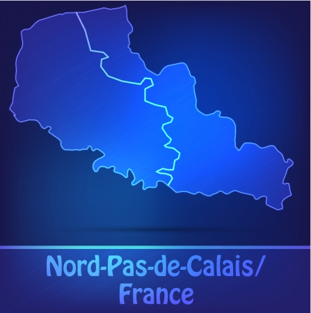 lille: Map of North-pas-de-calais with borders as scrible Illustration