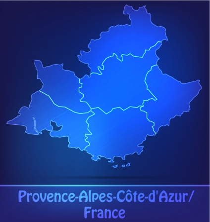 cote d'azure: Map of Provence-Alpes-Cote d Azur with borders as scrible