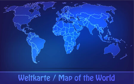 Map of world with borders as scrible