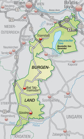 geographically: Map of Burgenland with highways in pastel green