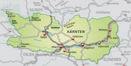 geographically: Map of kaernten with highways in pastel green