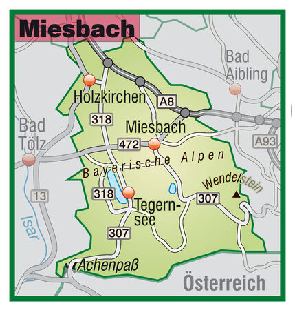 lake district: Map of miesenbach with highways in pastel green Illustration