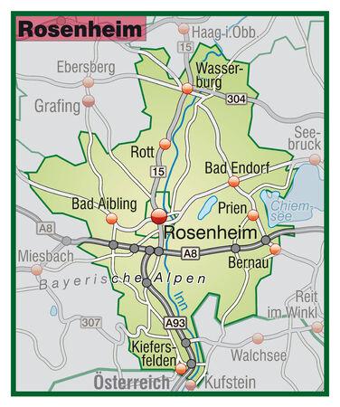 rott: Mapa de rosenheim con carreteras en color verde pastel
