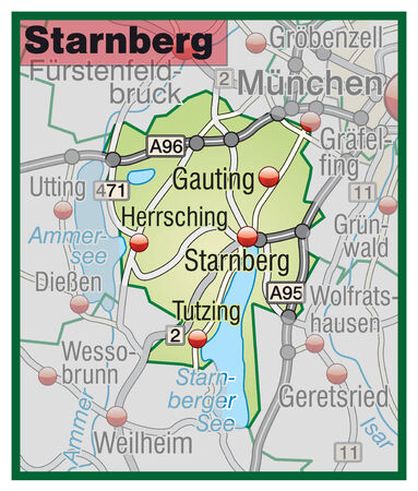 geographically: Map of starnberg with highways in pastel green Illustration