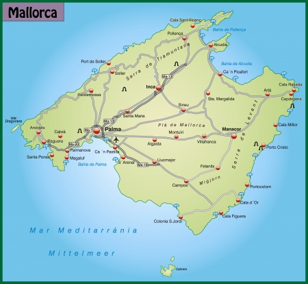 geographically: Map of mallorca with highways in pastel green