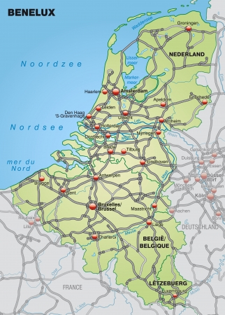 geographically: Map of Benelux with highways in pastel green Illustration