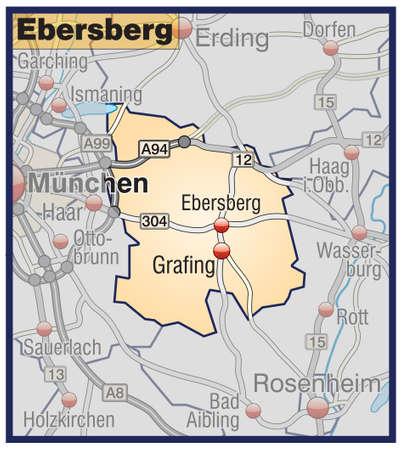 orange county: Map of ebersberg with highways in pastel orange Illustration