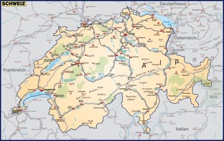 Map of Switzerland with highways in pastel orange Illustration