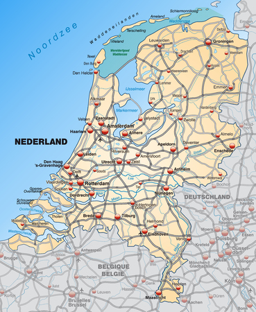 haarlem: Map of Netherlands with highways in pastel orange