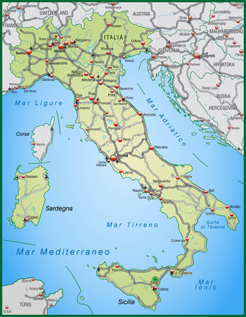 surrounding: Map of Italy with highways in pastel green