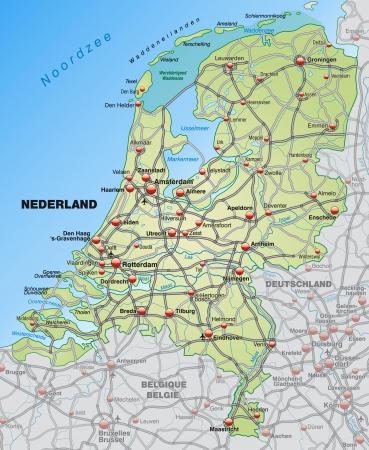 niederlande: Karte der Niederlande mit Autobahnen in pastellgr�n