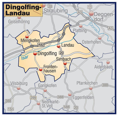 geographically: Map of dingolfing-landau with highways in pastel orange Illustration