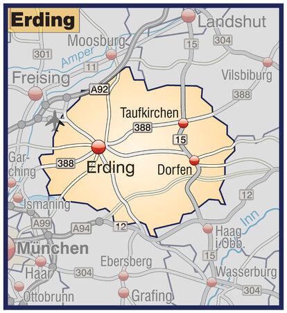 orange county: Map of erding with highways in pastel orange