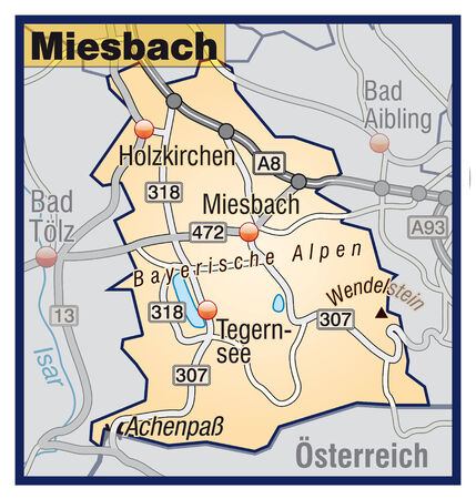 lake district: Map of miesenbach with highways in pastel orange