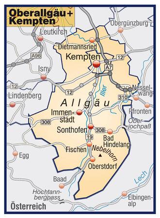 orange county: Map of alps with highways in pastel orange Illustration