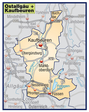 loe: Map of alps with highways in pastel orange Illustration